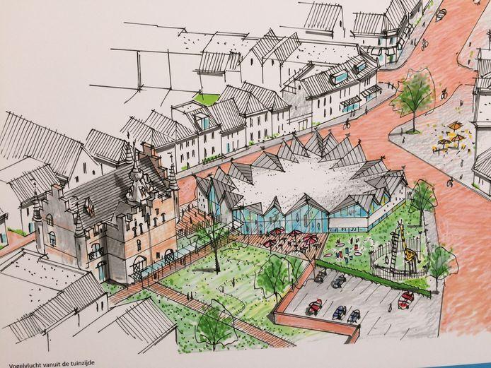 Eén van de ontwerptekeningen van Attika Architekten laat zien hoe het Fieppaviljoen in Zaltbommel er van bovenaf uit gaat zien.  Rondom puntdakjes met vogeltjes erop en karakteristieke hekjes.