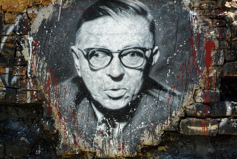 Muurschildering van Jean-Paul Sartre. Beeld Flickr/thierry ehrmann