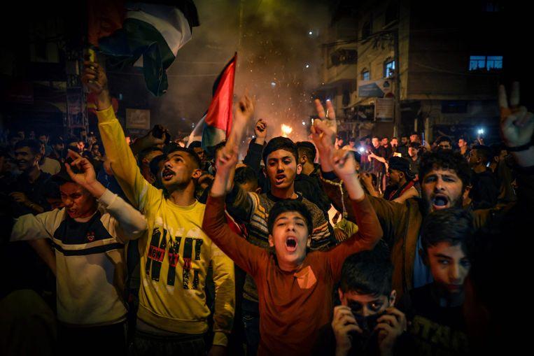 Demonstranten protesteerden gisteren nog in Gaza tegen het Israëlische geweld.  Beeld AFP