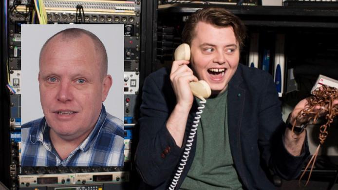 Links een pasfoto van de Zwolse dichter Wander Botter, rechts de 3FM-presentator Rob Janssen die hem al drie zondagen op rij poëzie laat voordragen tijdens de uitzending.