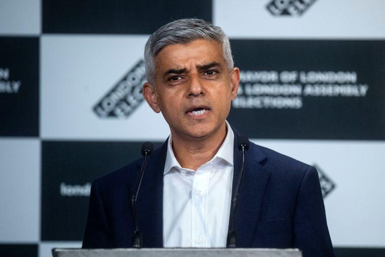 Sadiq Khan is zaterdag zoals verwacht herkozen als burgemeester van Londen. Beeld AP