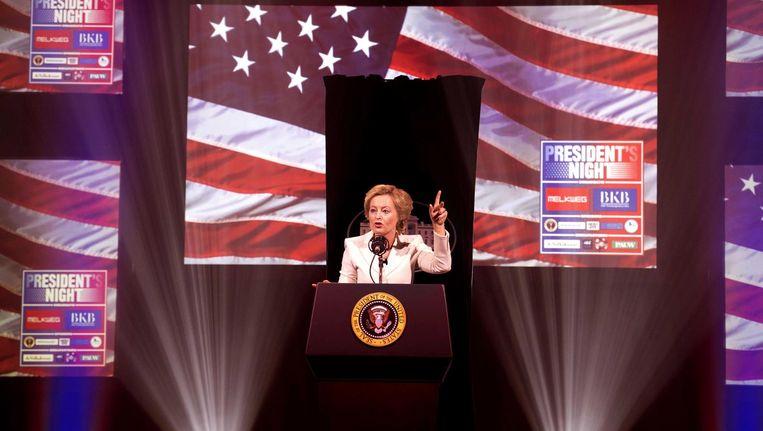 Minister Bussemaker speelt Hillary Clinton tijdens President's Night in de Melkweg. Beeld anp