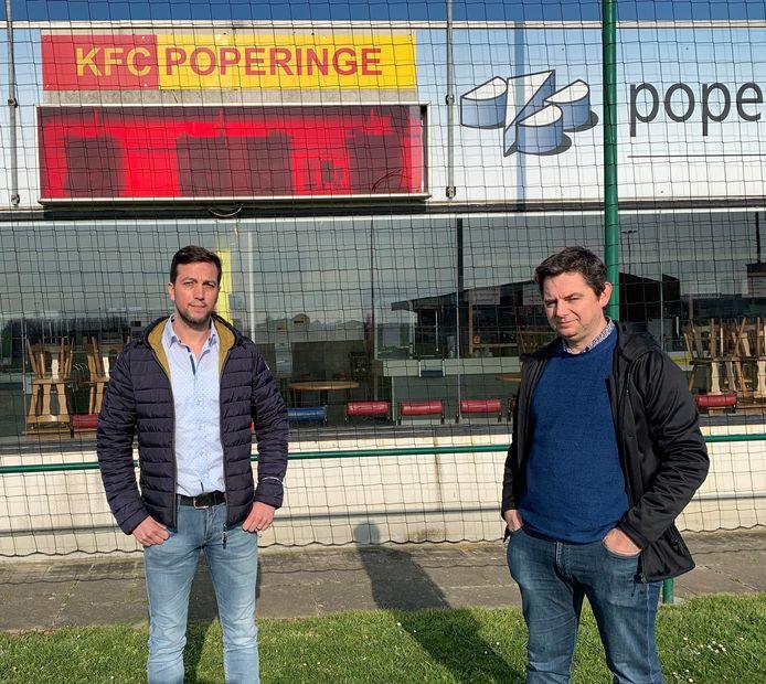 KFC Poperinge zet het project 'Kop Op' op poten. Mental coach Maarten Verbeke (links) en voorzitter Kristof Lobeau (rechts).