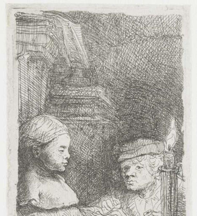 Rembrandt, Leerling tekenend naar gipsmodel. (1639-1643) Rijksmuseum. Beeld Rembrandt, Leerling tekenend naar gipsmodel. (1639-1643) Rijksmuseum.