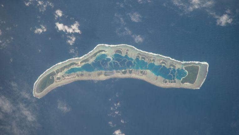 Kiribati is een van de vele SIDS-landjes die van de aardbol kunnen verdwijnen als gevolg van de stijgende zeespiegel. Beeld AP