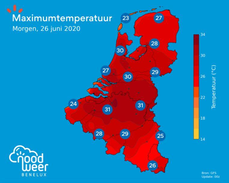 Het wordt morgen tropisch warm met op veel plaatsen 30 tot 32 graden.