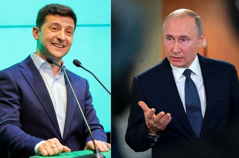 President van Oekraïne Volodymyr  Zelenski en Russisch president Vladimir Poetin
