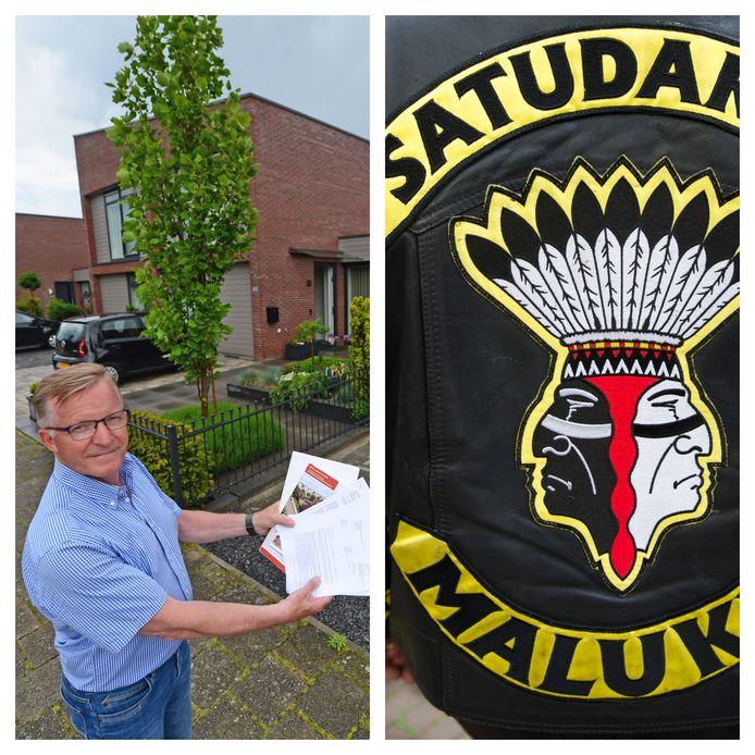 Links: Theo Kupper uit Borne. Rechts: het logo van Satudarah, achterop een jack.