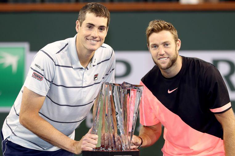 John Isner (l) en Jack Sock wonnen deze maand nog het dubbeltornooi op Indian Wells.   Beeld AFP