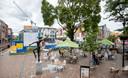 De bouwlocatie van het stadsstrand in het centrum van Veenendaal, naast het Thoomesplein.