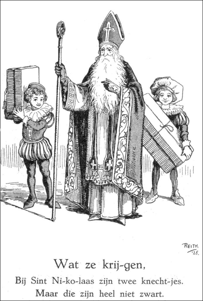 De illustratie van Bernard Reith in het kinderboek Sint Nicolaas laat twee Witte Pieten zien