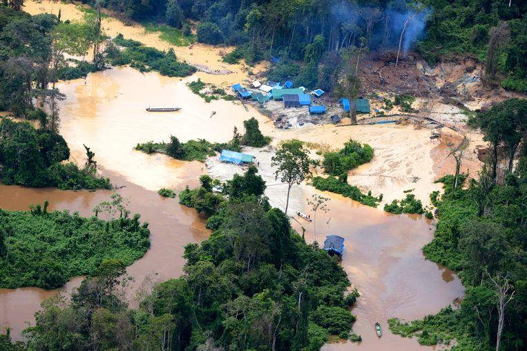Luchtbeeld van een illegale mijn in het Braziliaanse regenwoud.De vernieling van de natuur blijkt de grondoorzaak van almaar meer ziekten die van dier op mens springen. Beeld AFP