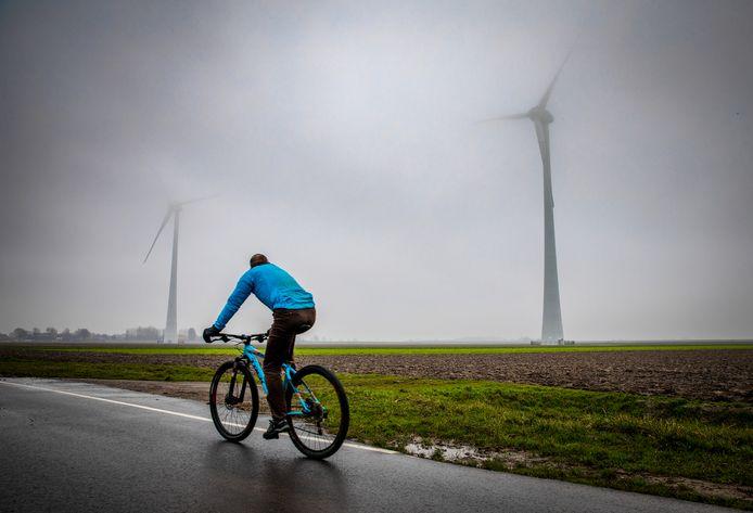 Een fietser rijdt langs de windmolens aan het Spui in Piershil.