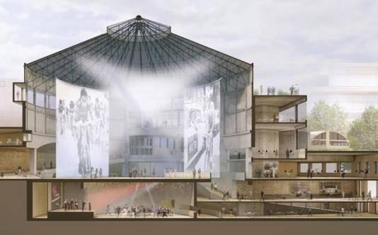 Zo zal het Wintercircus er in 2020 uitzien: een centrale evenementenhal met daaronder een concertzaal en errond kantoren.