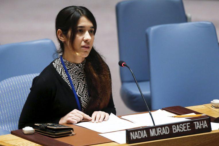 Nadia Murad tijdens de hoorzitting van de Veiligheidsraad van de Verenigde Naties. Beeld REUTERS