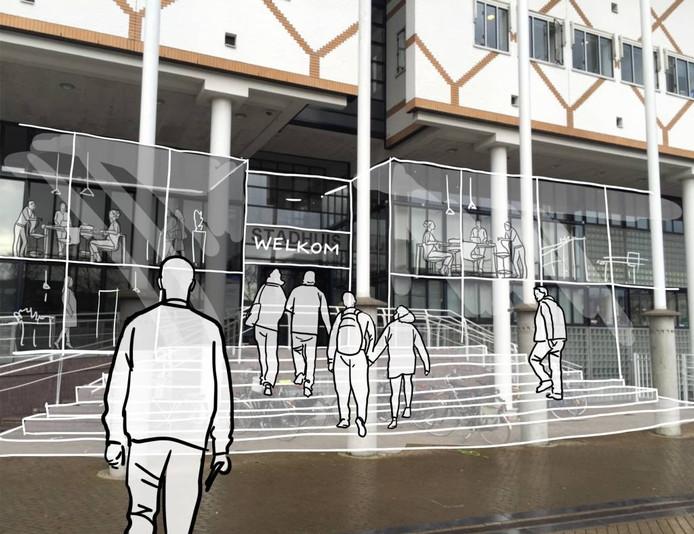De gemeente wil bij de verbouwing de entree van het stadhuis prominenter maken.