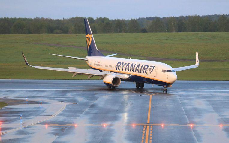 Het RyanAir-toestel dat moest landen in Minsk. Beeld AFP