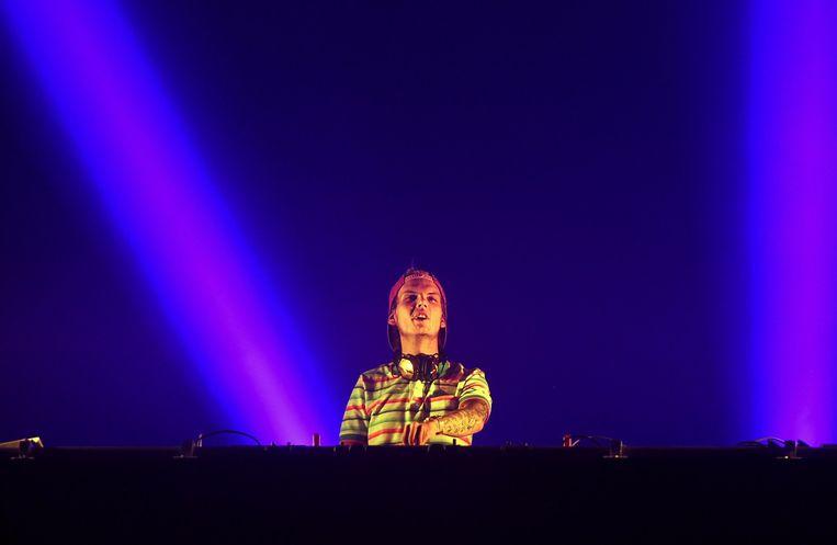 De Zweedse dj Avicii tijdens een optreden. Beeld anp