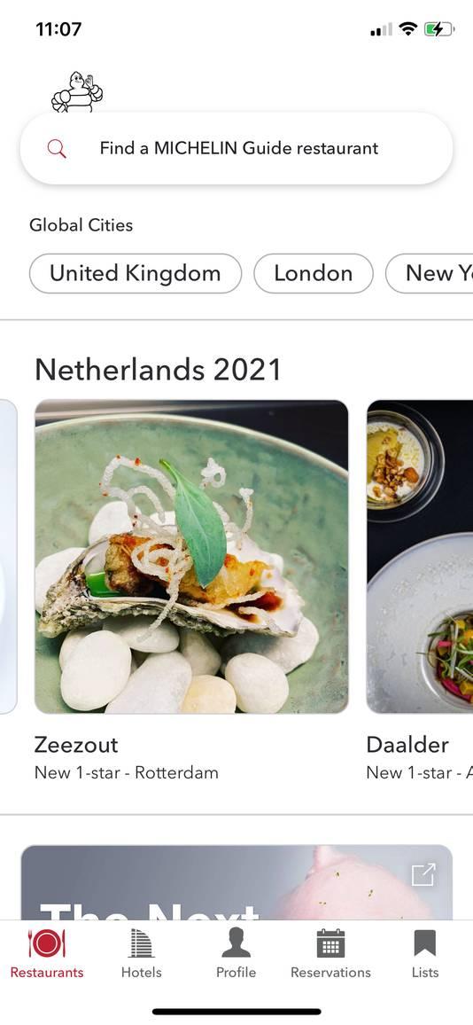 Screenshot van de Michelin-app, waarin de sterren vanmorgen al lijken te zijn uitgedeeld.