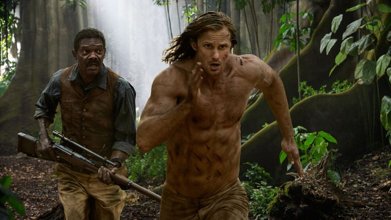 Samuel L. Jackson en Alexander Skarsgård in The Legend of Tarzan van David Yates. Beeld