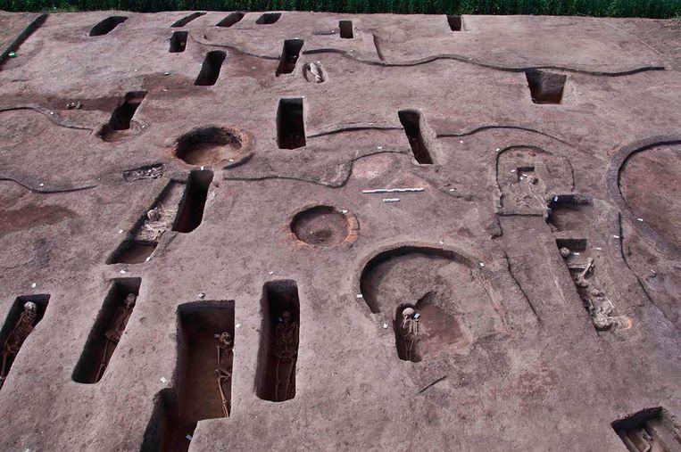 Sommige van de graftombes bevatten nog menselijke resten. Beeld AP