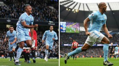 Haast identiek: ook in 2012 (opnieuw in duel met Smalling) kopte Kompany al raak tegen Manchester United