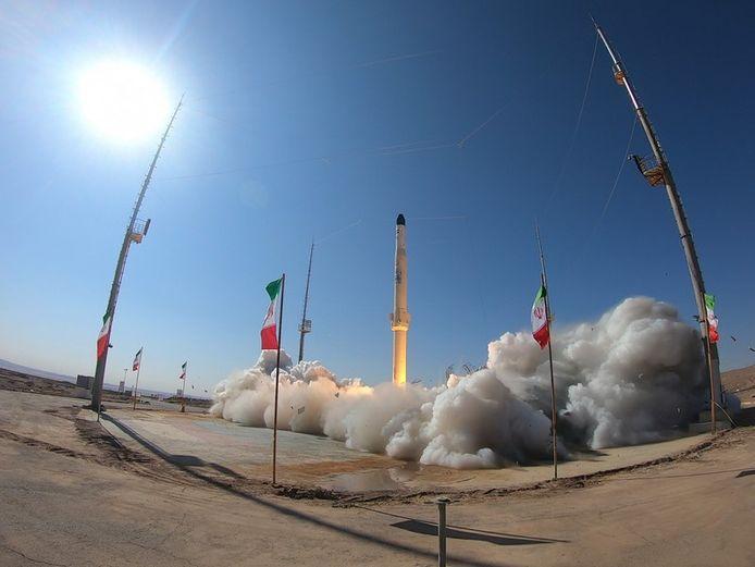 Een raketlancering op 1 februari 2021 in Iran.