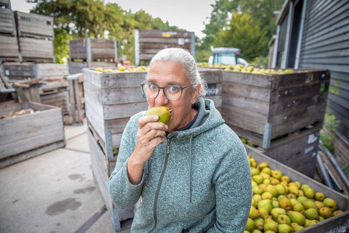 Arianne Hoogstrate bij de kisten vol peren.
