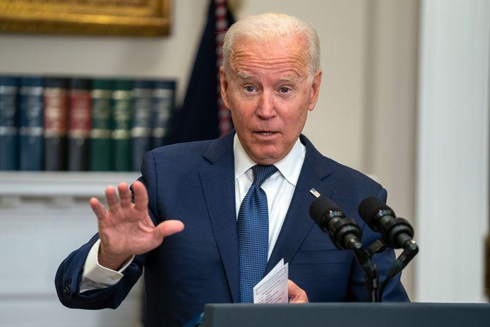 Joe Biden tijdens zijn persconferentie zondagavond
