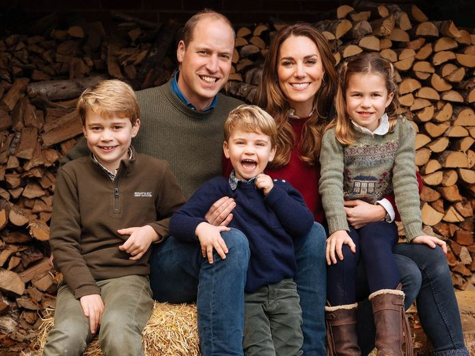 Prins William, Kate Middelton en hun drie kinderen George, Charlotte en Louis.