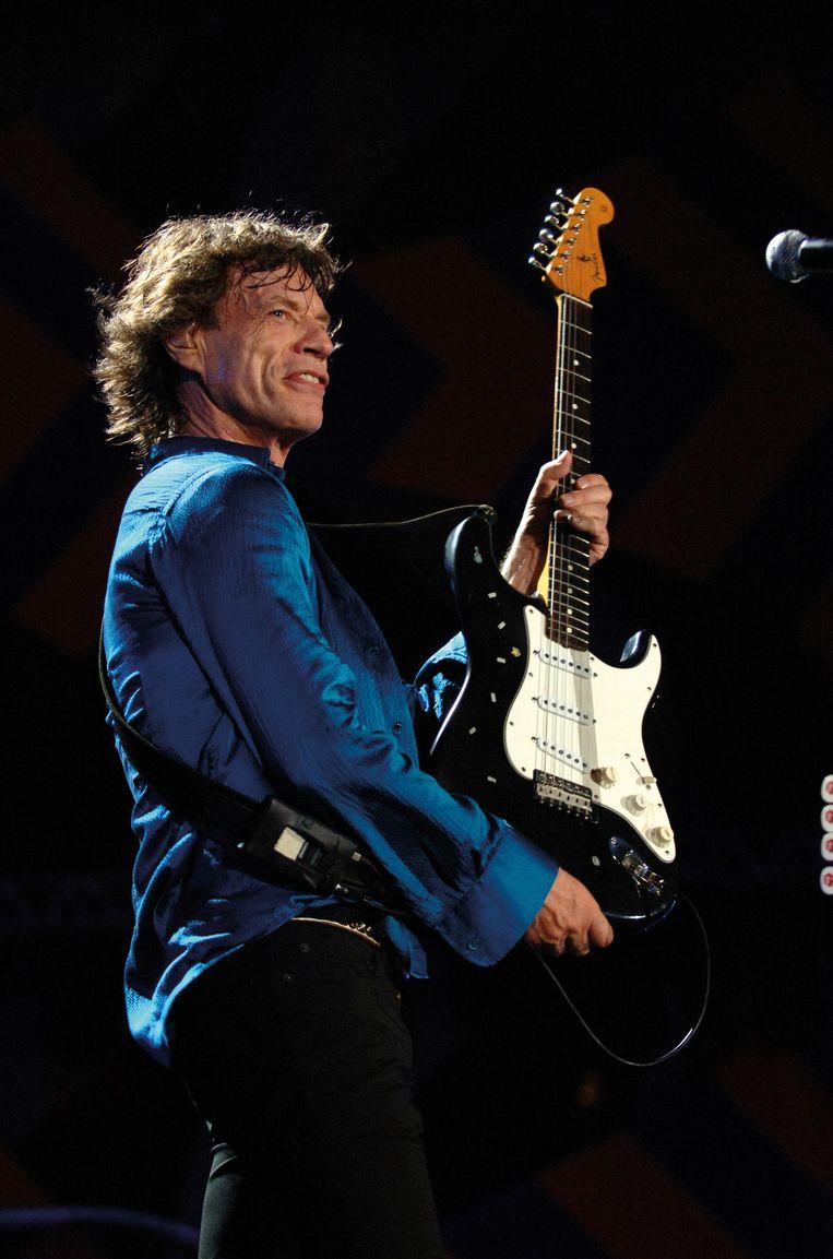 Frontman Mick Jagger tijdens het optreden in Rio de Janeiro. Beeld Brian Rasic / RS Archive