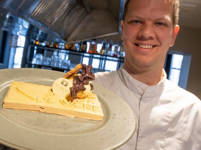 Paul Melis van De Werf met zijn I love the Werf-chocoladedessert.