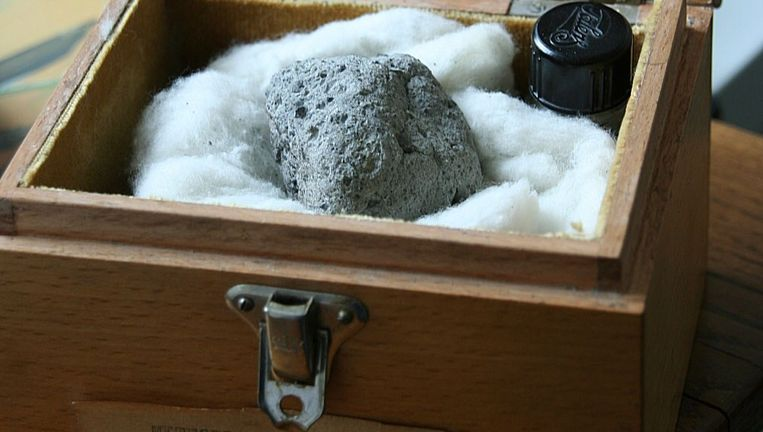 Het kistje met de meteorieten museum en sterrenwacht Sonnenborgh in Utrecht. Beeld ANP Handouts