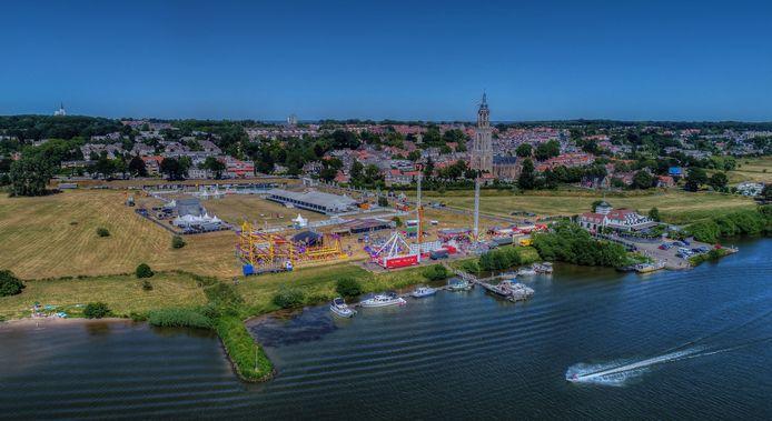 Nog een mooie archieffoto: de Rijnweek in opbouw, gezien vanuit de lucht.