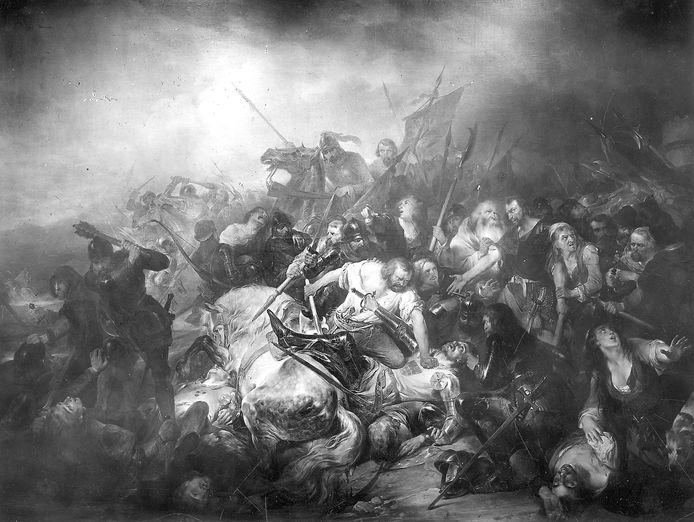 De originele Slag der Gulden Sporen van Nicaise De Keyser ging verloren in een brand in 1944
