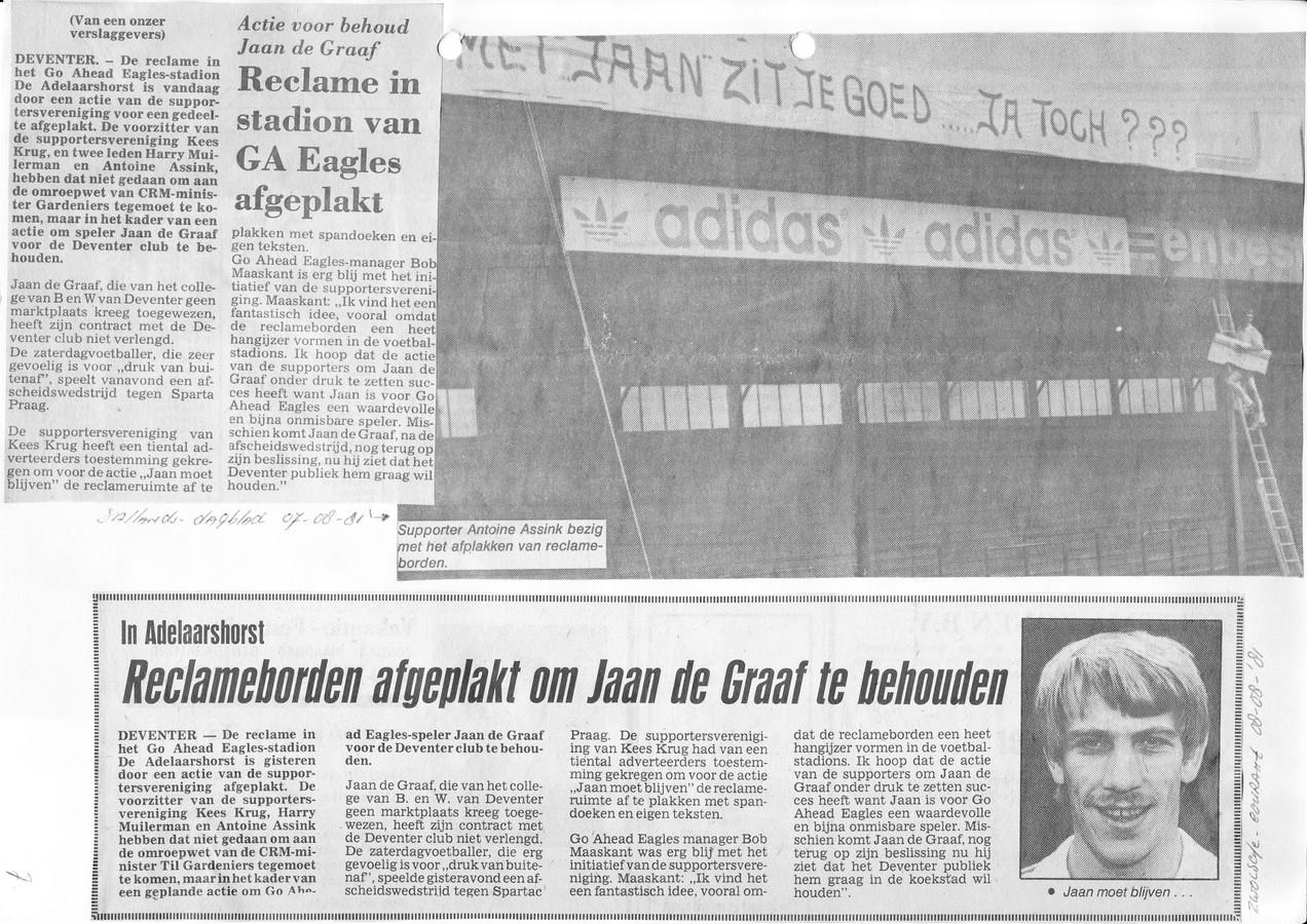 GA Eagles probeerde er begin jaren tachtig alles aan te doen om aanvaller Jaan de Graaf in Deventer te houden.