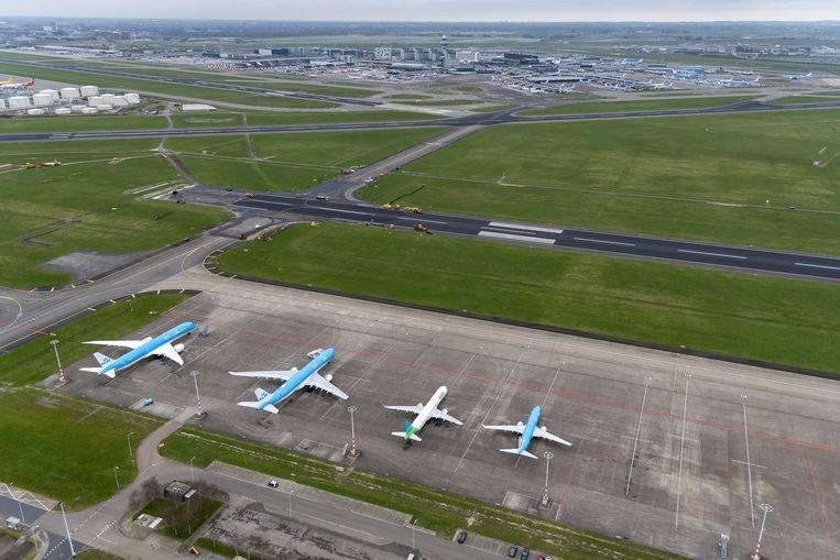 Vliegtuigen van KLM en Transavia aan de grond op de  Schiphol.  Beeld ANP, Peter Bakker