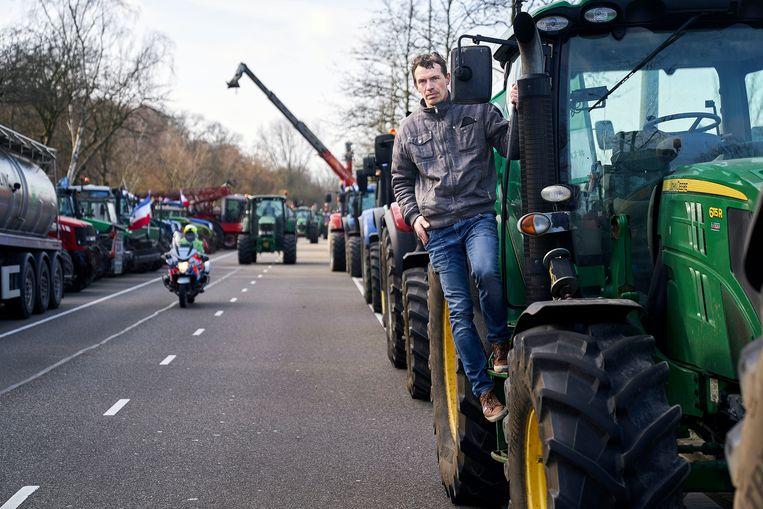 Boer John Eijkelenboom bij aankomst in Den Haag. Beeld Phil Nijhuis
