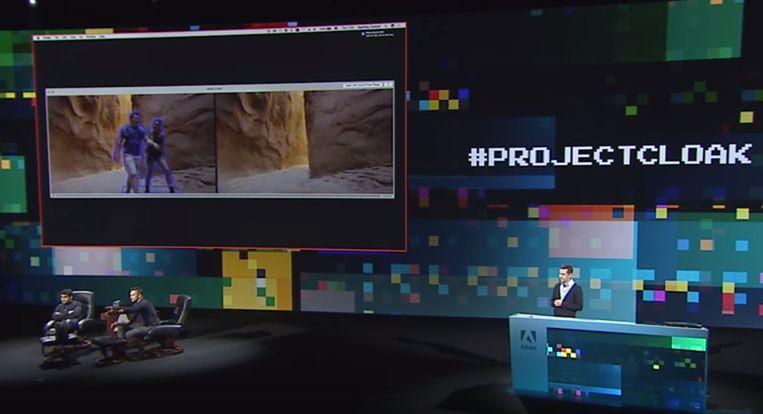 Project Cloak van Adobe. Twee mensen worden simpelweg uit een video verwijderd. Beeld Adobe Creative Cloud