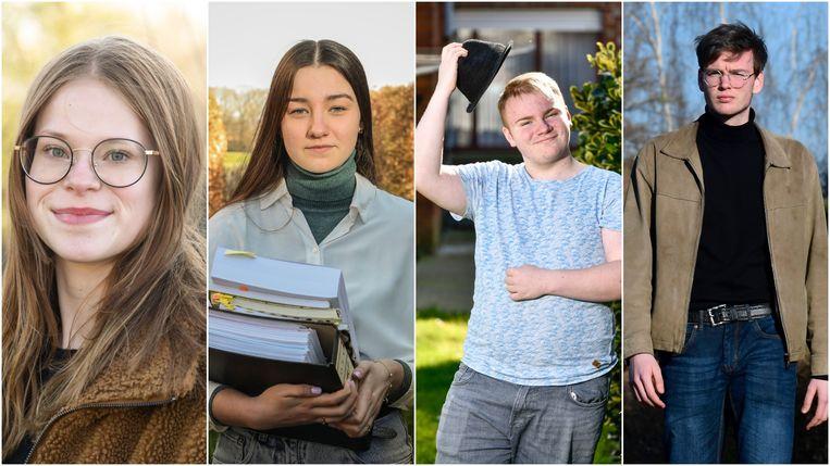 De vier gedupeerde laatstejaars, vlnr: Julie D'Hooge, Eline Klönhammer, Arno Kindt en Felix Rabou. Beeld Photonews