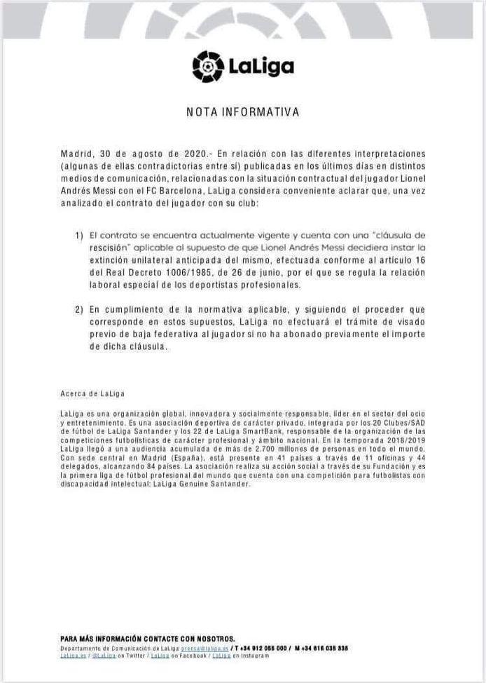 Het statement van LaLiga.