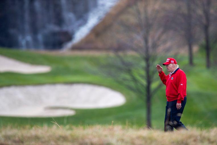 President Trump op de golfbaan. Beeld Hollandse Hoogte / EPA