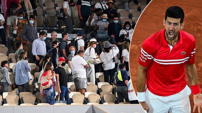 Pas nadat de fans het stadion verlieten, kon Djokovic de partij naar zijn hand zetten. Met een oerkreet als gevolg.