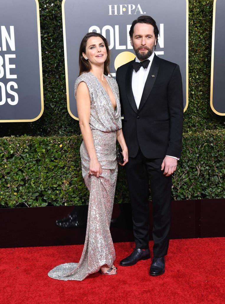 Keri Russell en Matthew Rhys, beide genomineerd voor de golden globe voor beste acteur/actrice in een tv-serie, 'The Americans'.
