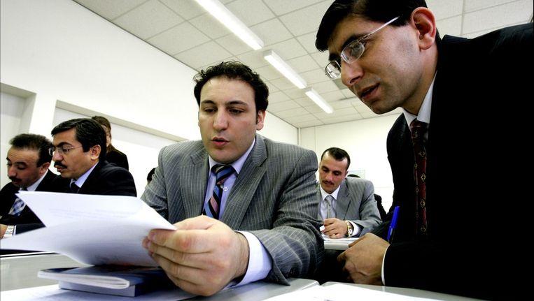 Maart 2006: Turkse imams volgen bij het Rotterdamse Albeda College een spoedcursus inburgeren. De cursus houdt geen verband met de imamopleiding van Inholland. Beeld ANP