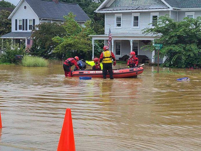 Overstromingen in Helmetta, New Jersey.