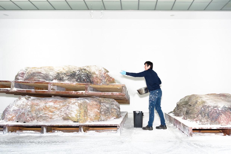 Berlinde de Bruyckere richt de installatie 'Aletheia, on-vergeten' (2019) in tijdens de opbouw van haar tentoonstelling in Maastricht. Beeld sas schilten