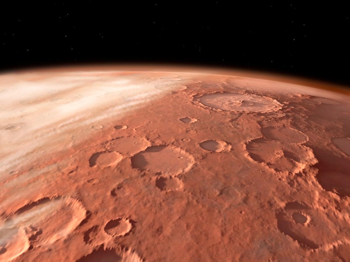 Het dorre, onherbergzame oppervlak van Mars.
