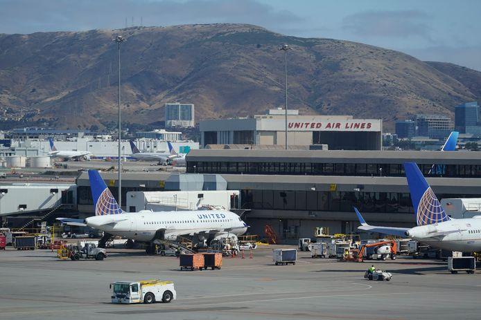 Vliegtuigen van United Airlines op de luchthaven van San Francisco.