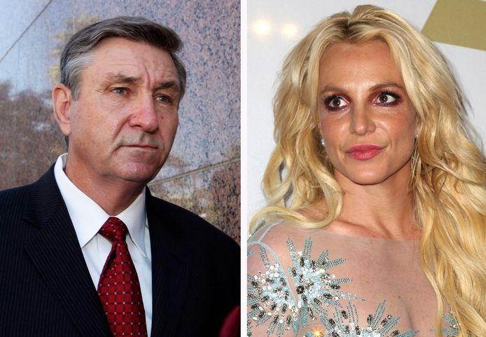 Jamie Spears, père de Britney, à gauche, et la chanteuse en 2017, à droite